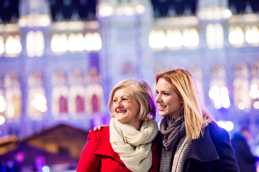 Two beautiful women on a walk in illuminated night city. by Jozef Polc on 500px.com
