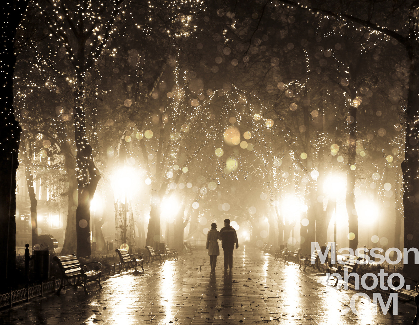 Photograph Couple walking at alley in night lights. Photo in vintage multic by Vladimir Nikulin / Masson on 500px