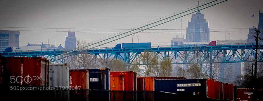 Trucks enter the U.S.A. from Canada via Detroit's Ambassador Bridge.