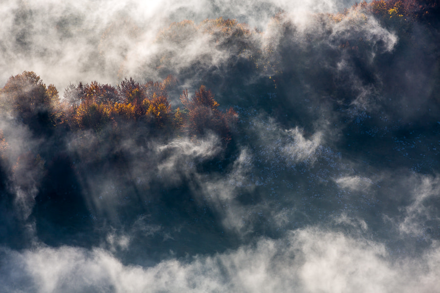 This photo was taken during the Abruzzo photo workshop October 2012. It was an amazing situation with clouds drifting across the trees in full autumn colors and the sun lighting it all. The whole group of 9 photographers were shooting away for half an hour or so and got some really great photos.