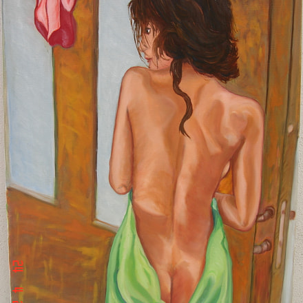 Woman with towels. Oil, Sony DSC-N1