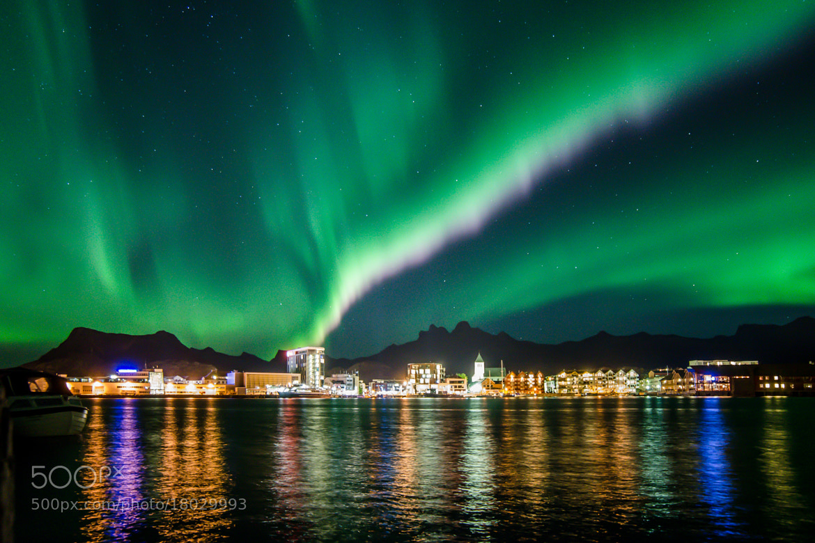 Photograph Svolvaer city by night by Vidar Lysvold on 500px