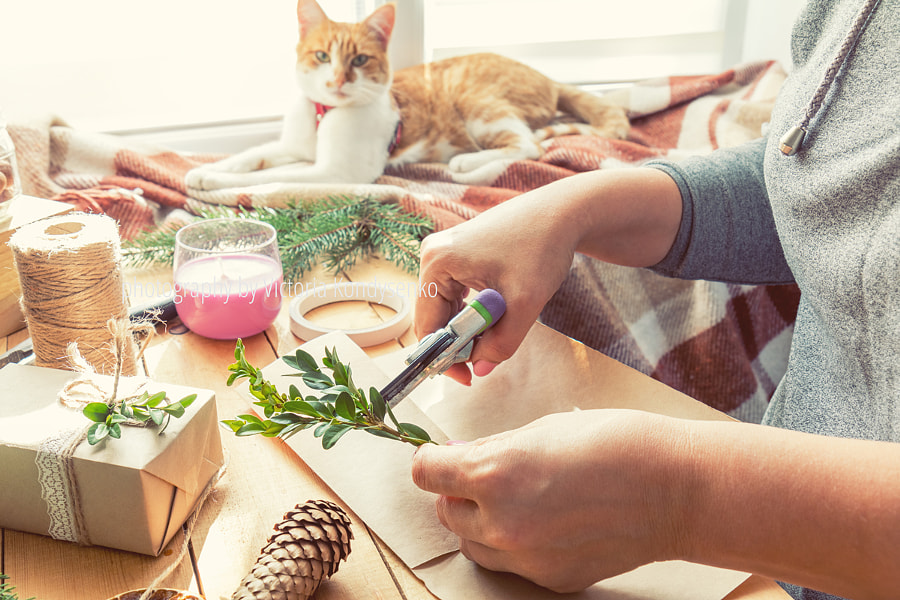 Woman wrapping eco Christmas gifts on wooden table by Victoria Kondysenko on 500px.com