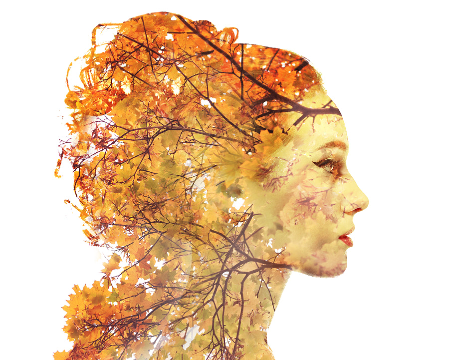 Double exposure autumn portrait by Olena Zaskochenko on 500px.com