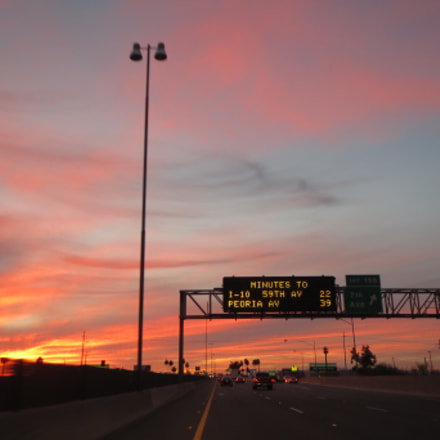 Sunrise on freeway, Canon POWERSHOT ELPH 530 HS