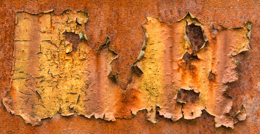 Flaking paint and rust