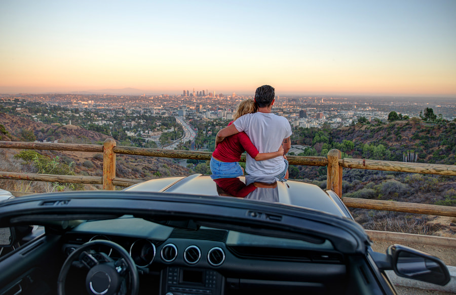 Couple watching sunset from popular view point in Los Angeles, C by Cristian Negroni on 500px.com