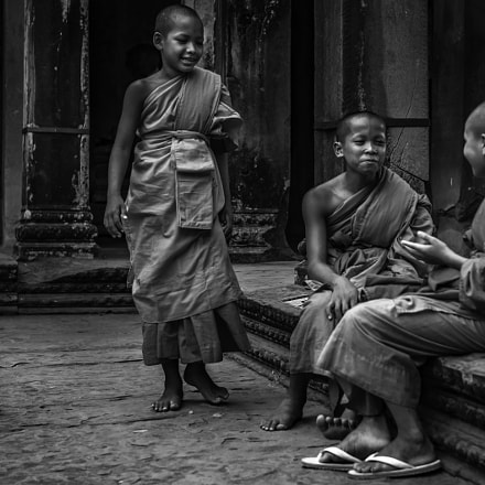 young monks in Angkor Wat