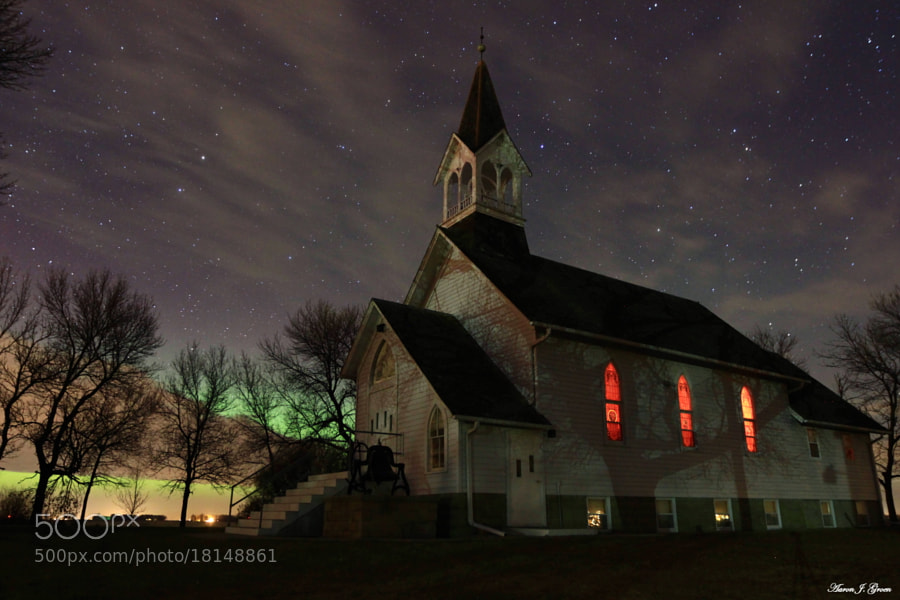 """The historical Ben Clare United Methodist Church, Valley Springs, South Dakota. with this morning's kp 7 Aurora Borealis and some clouds.   <a href=""""http://www.facebook.com/HomeGroenPhotography"""">www.facebook.com/HomeGroenPhotography</a>"""
