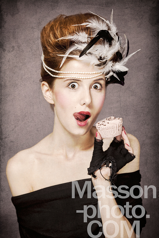 Photograph Redhead girl with Rococo hair style and cake in studio at vintag by Vladimir Nikulin / Masson on 500px