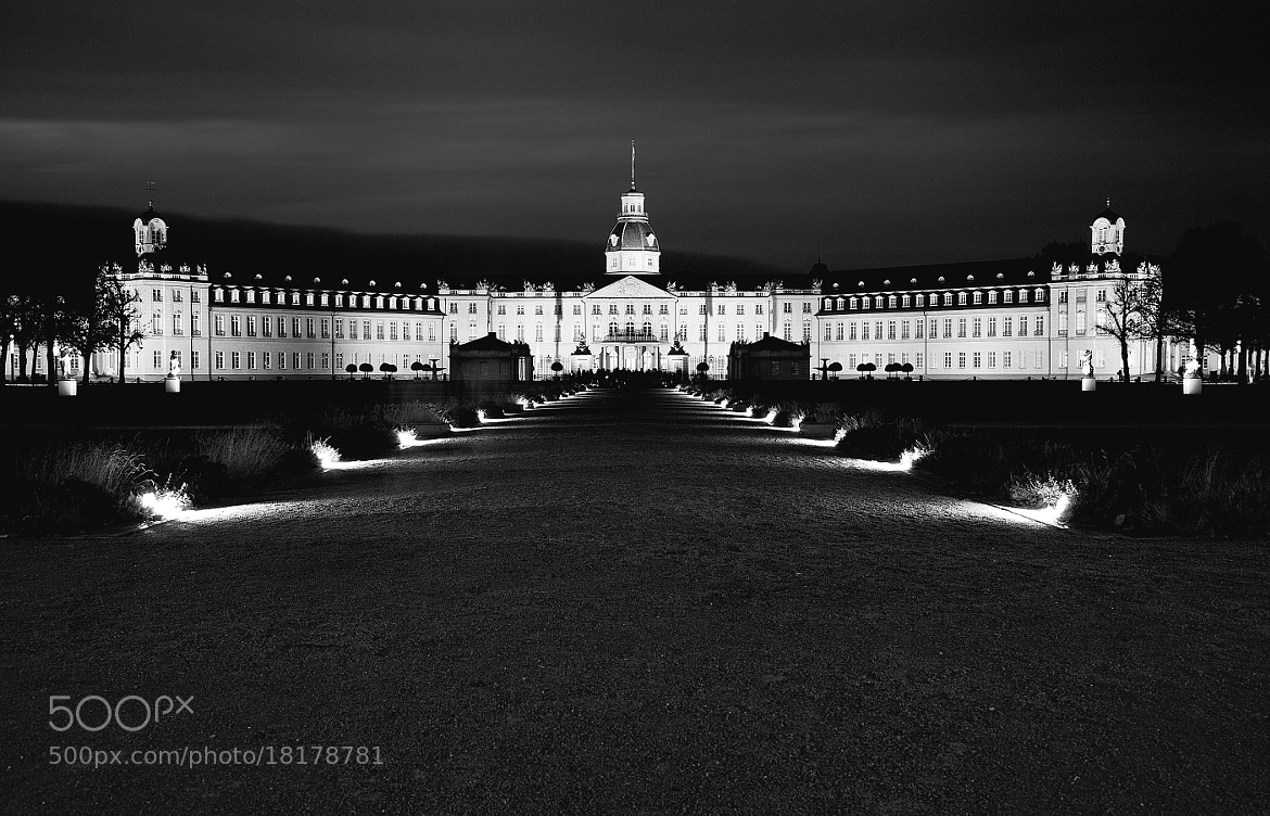 Photograph Castle Karlsruhe at Night b&w by Thorsten Jung on 500px