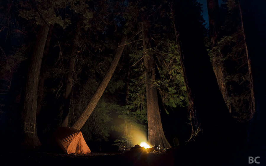 Last night my girlfriend and i escaped out of town to go camping and soaking in hot tubs. It was a great trip of relaxation and just us. She fell asleep early, but I stayed up sitting by the fire. It was such a cool campsite I had to try and take a picture :-) 