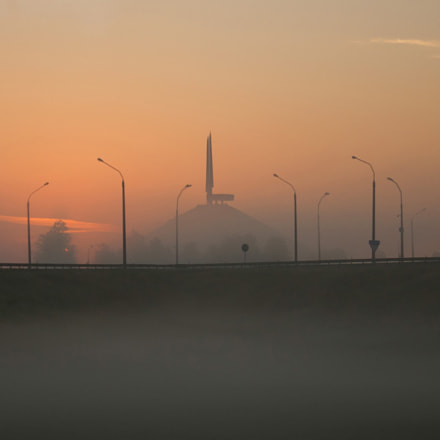 Glory Mound near Minsk at dawn