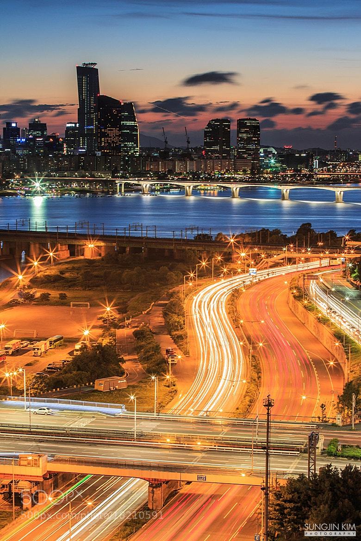 Photograph Light trails at dusk by Sungjin Kim on 500px