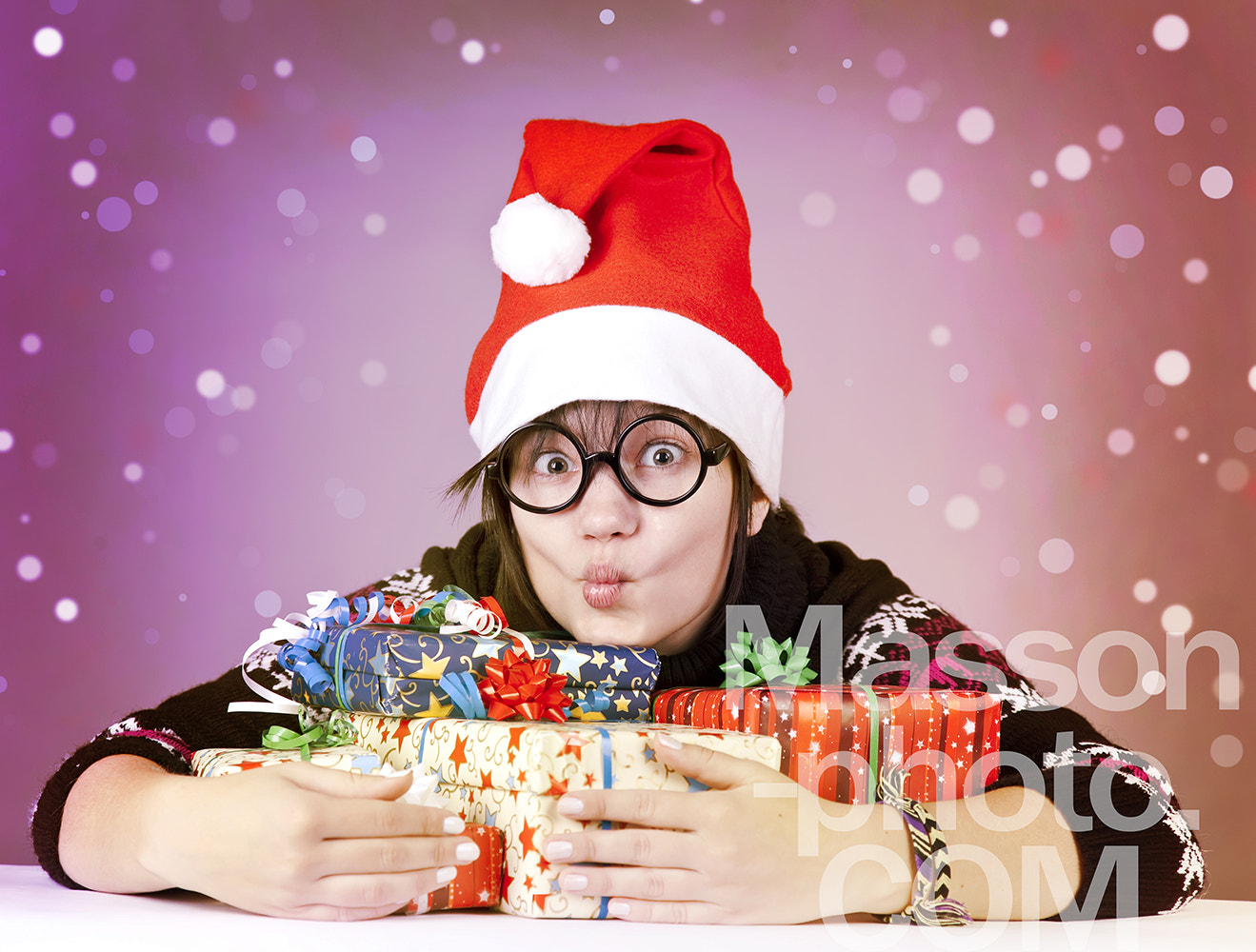 Photograph Funny girl in glasses with christmas gifts.  by Vladimir Nikulin / Masson on 500px