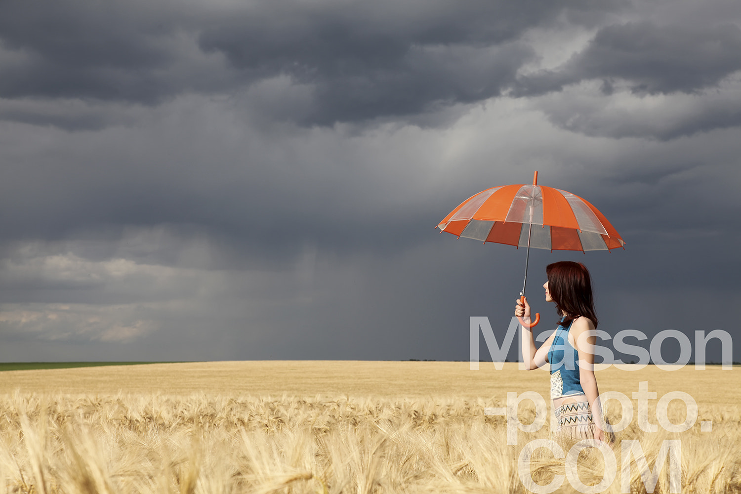 Photograph Girl with umbrella at wheat field at rainy day  by Vladimir Nikulin / Masson on 500px