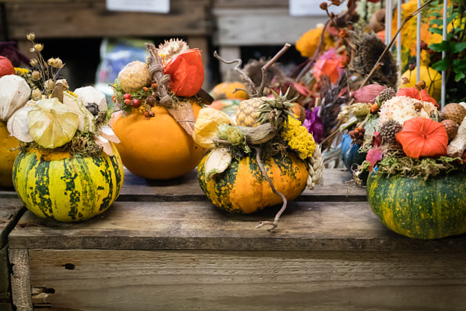 Dried flower decorations in colourful pumpkin containers