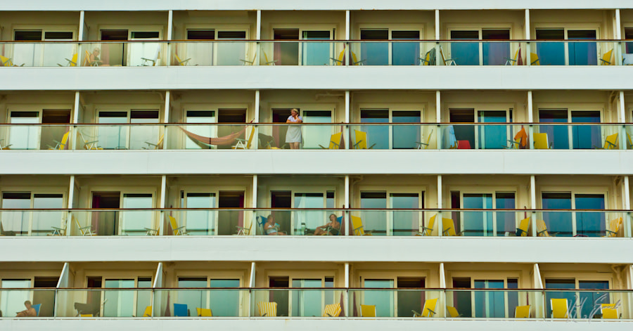 Balconies of a sea-cruiser ...