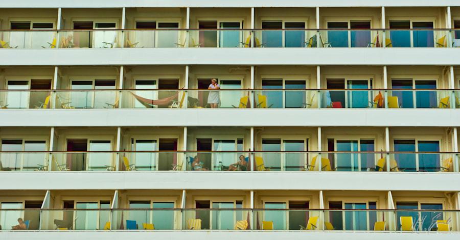 Balconies of a sea-cruiser ...