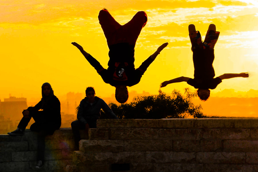 Sunset Back Flip in Cairo