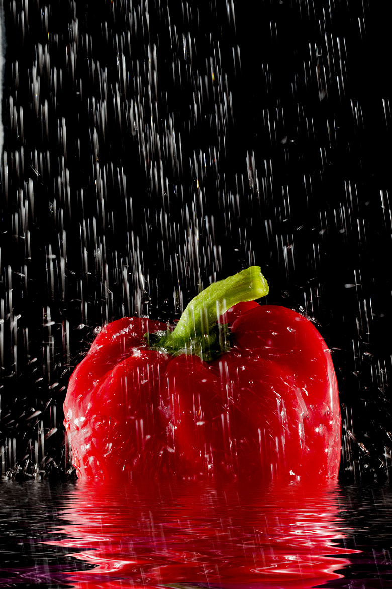 Photograph Red Pepper taking a shower by Mark Tizard on 500px