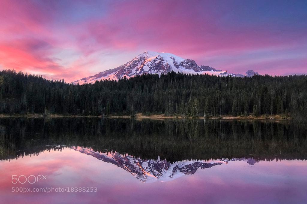 Photograph Sunset Reflection over Mount Rainier by Meleah Reardon on 500px