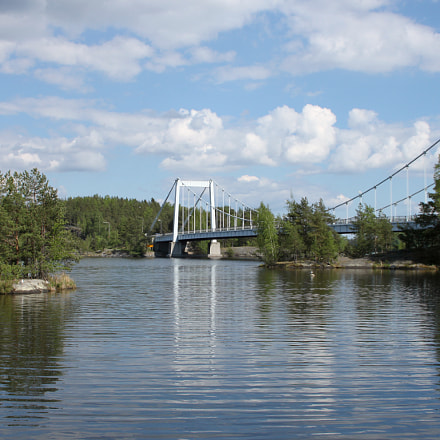 Bridge over lake in summer