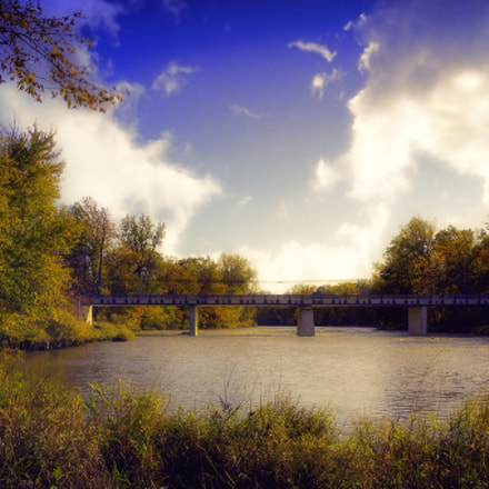 River with distant Bridge, Canon EOS REBEL T4I, Sigma 18-250mm f/3.5-6.3 DC OS HSM