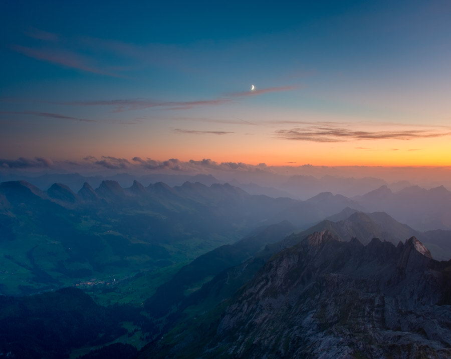 Shot from the Säntis towards the Churfirsten in Switzerland