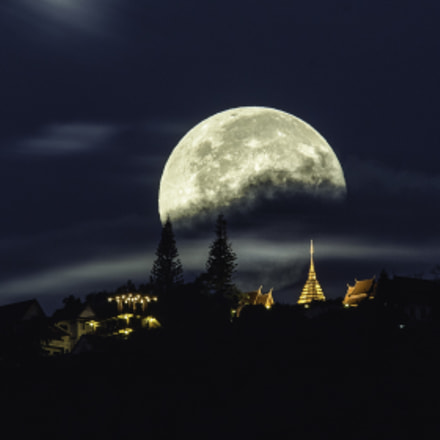 Super Moon over Wat Phrathat Doi Suthep Temple