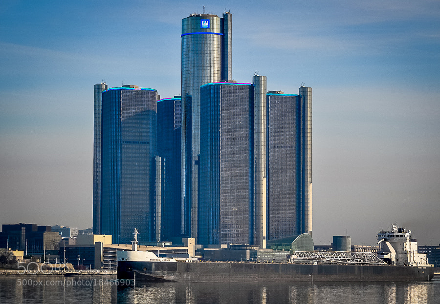 GM World Headquarters/Renaissance Center, Detroit, seen from Windsor, Ontario.