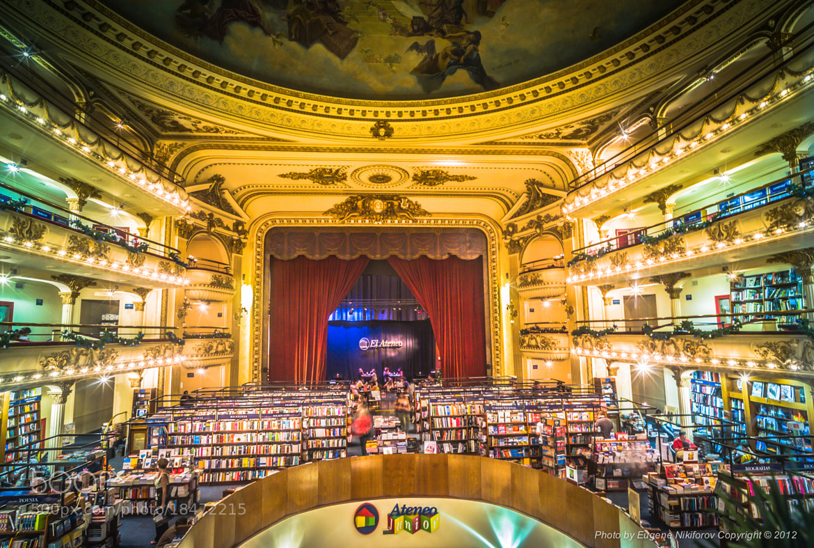 Photograph The El Ateneo Bookstore on Santa Fe near Callao is an elegant beautifully restored theater, Buenos A by Eugene Nikiforov on 500px