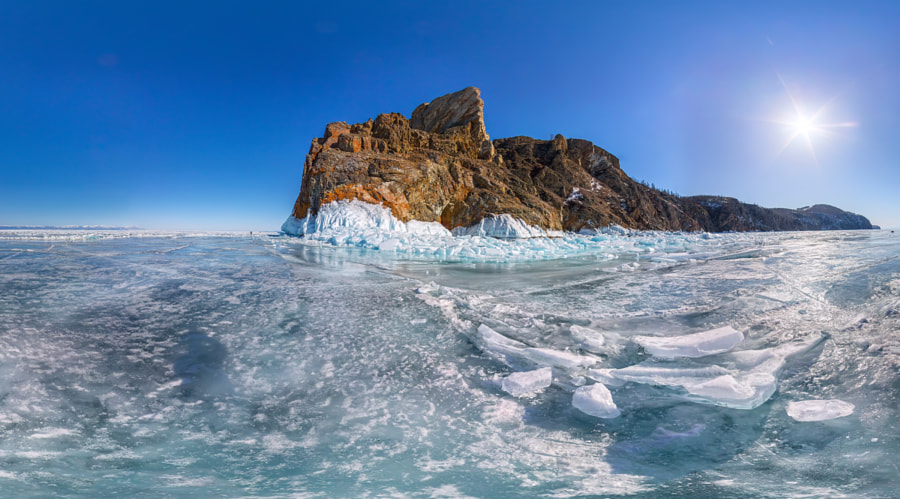 panorama Ice hummocks on Lake Baikal near Cape Khoboy, автор — Aleksey Zakirov на 500px.com