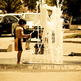 A shower with a plastic bag on the street. Very cool. by Conceição Dias (Carapeto)) on 500px.com