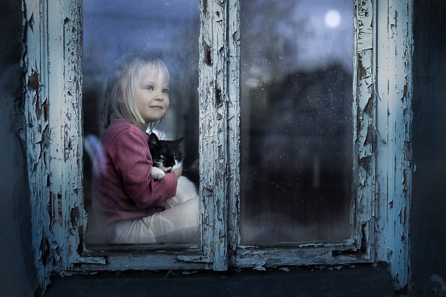 Agata and the cat (under the moonlight) by Iwona Podlasińska on 500px.com
