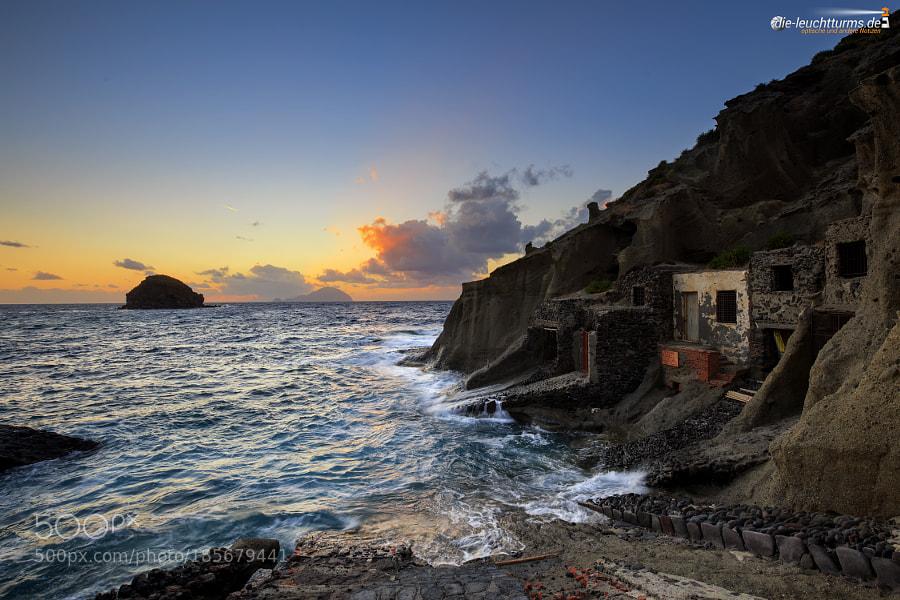 Sunset in the bay of Pollara