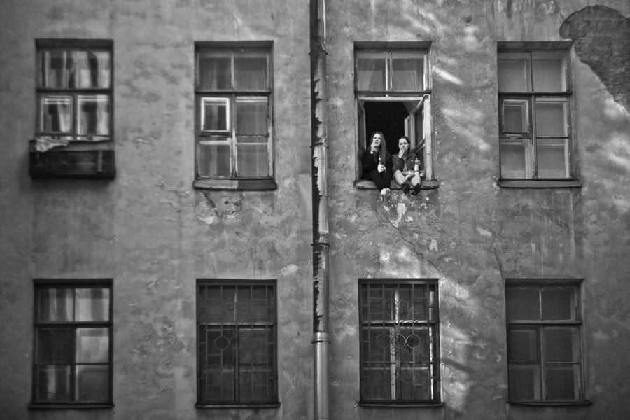 Photograph Girls, windows, cigarettes, beer & cat by alexander kan on 500px