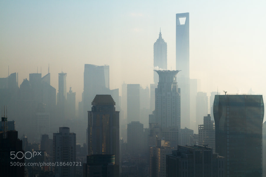 Shanghai Skyline from JW Marriott Tomorrow Square the morning in Winter with World Trade Center and