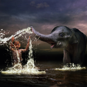playing with elephant  by 3 Joko (3Joko)) on 500px.com