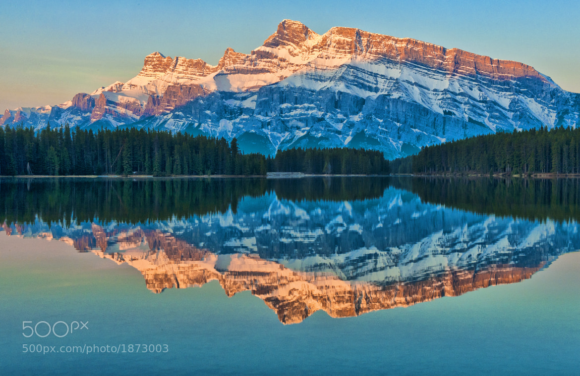 Photograph First Light at Two Jack Lake by Jeff Clow on 500px