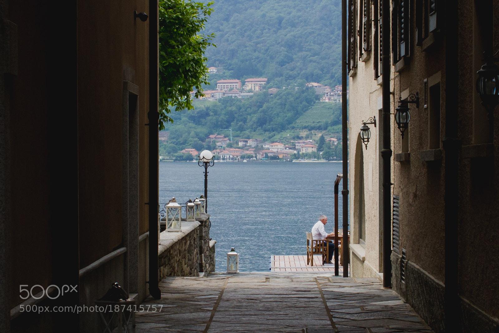 Elder relaxing and enjoying italian lifestyle