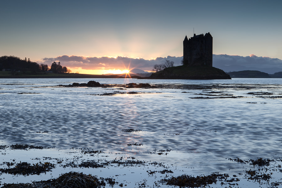 Castle Stalker in the Scottish Highlands, scenery for many movieplay.