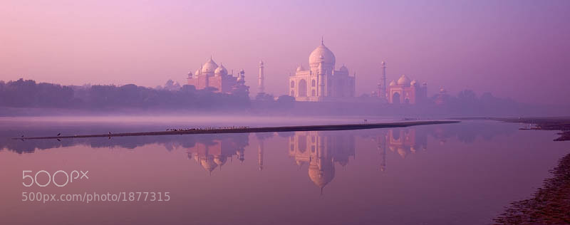 morning at Taj Mahal, view from Yamuna River
