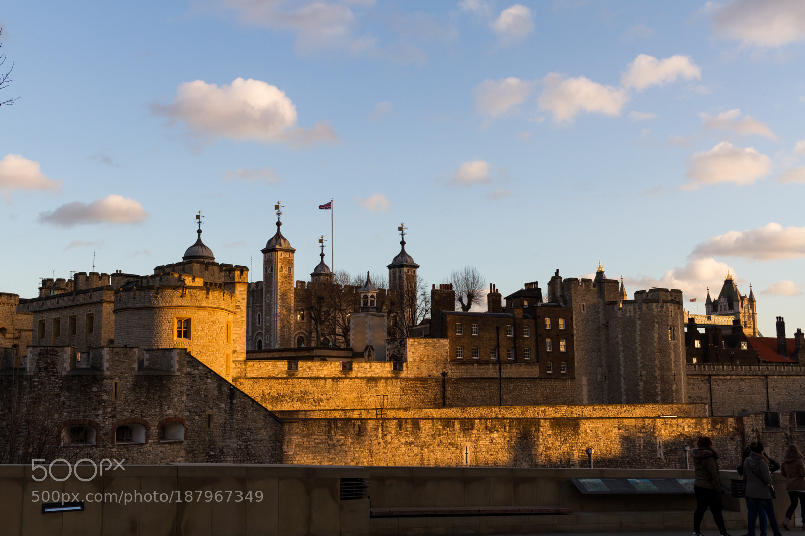 Sunset light gilding the Tower of London