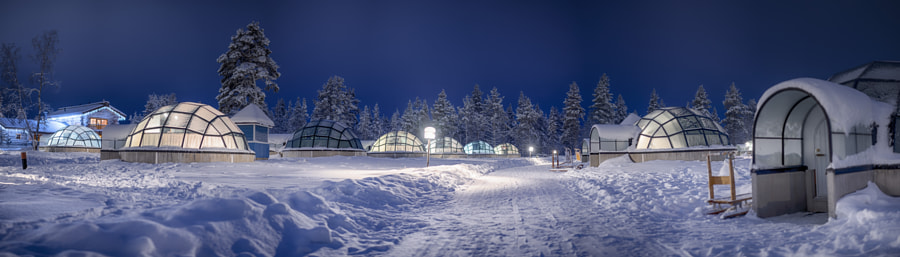 Panoramic shot of glass igloos @ kakslauttanen arctic resort.  by royS on 500px.com