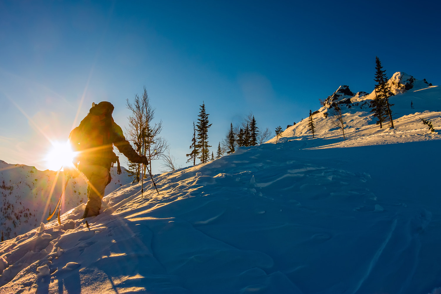 Freeride skis uphill backlit rising sun by Aleksey Zakirov on 500px.com