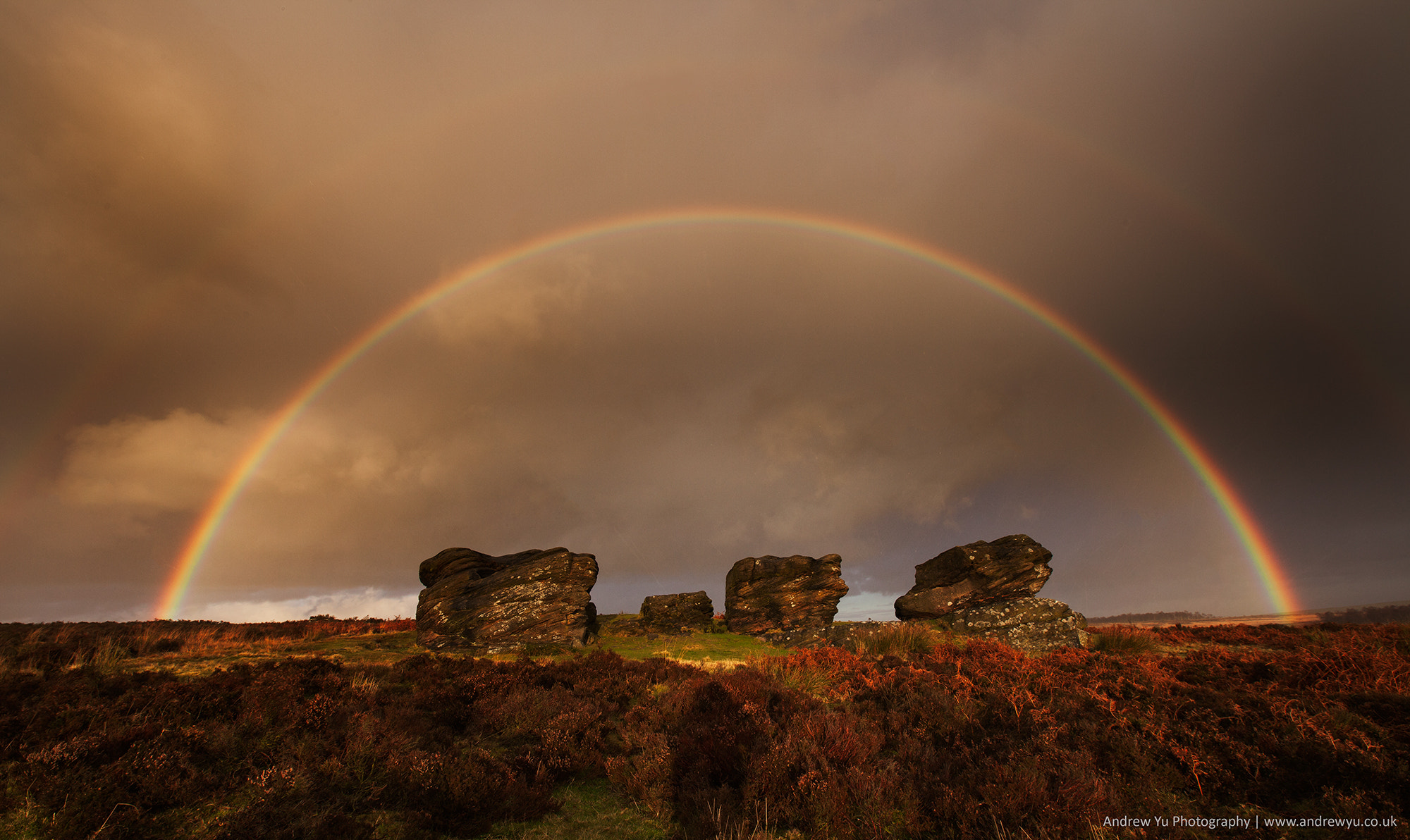 Photograph Rainbow over the Three Ships, Birchen Edge by Andrew Yu on 500px