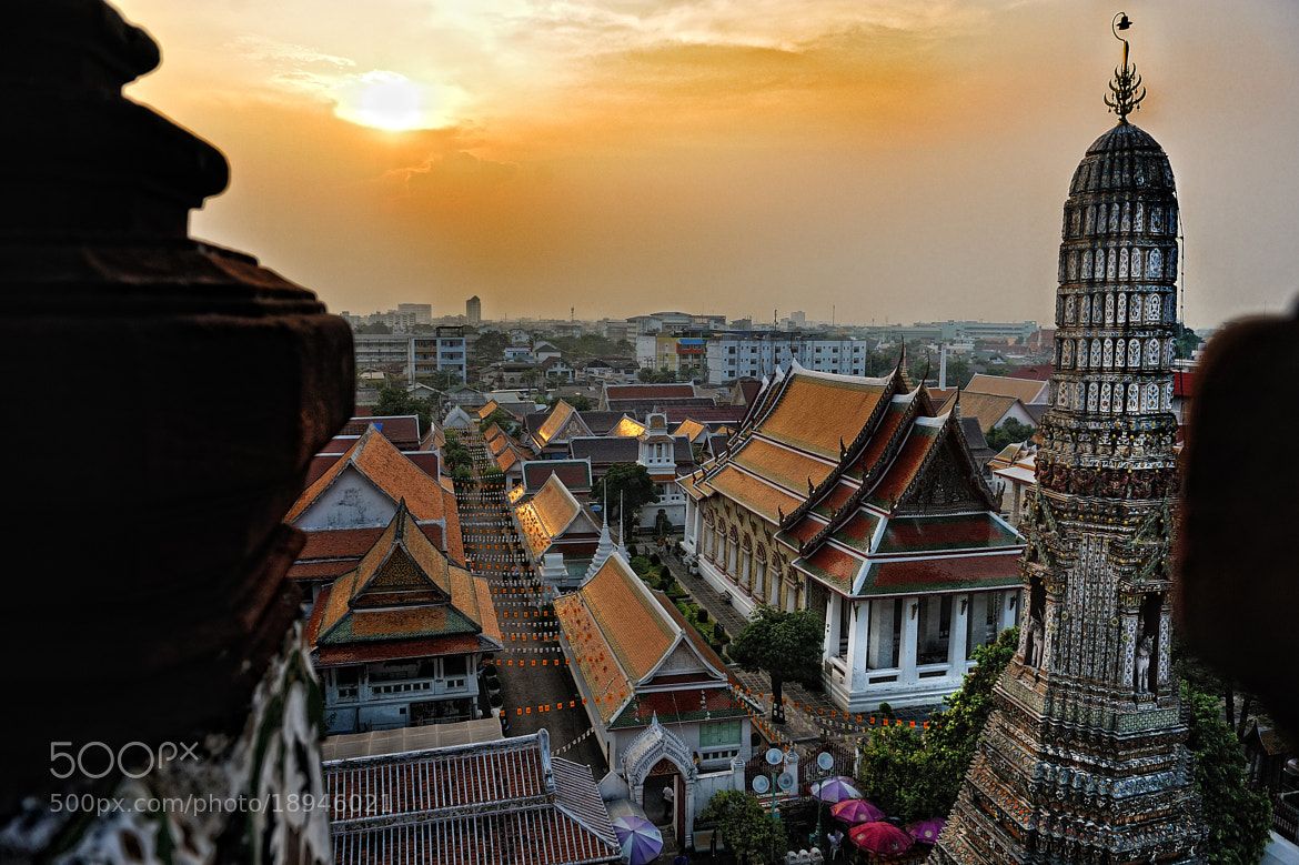 Photograph View of Bangkok at dusk from the Temple of Dawn Wat Arun by Mayur Channagere on 500px