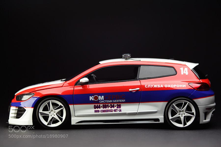 "Volkswagen Scirocco (3rd generation) 2010 группы компаний ""Комсервис"" Аэродинамический обвес Rieger Система выхлопа Rieger Диски 20"" EtaBeta JOFIEL Ceramic X масштаб 1/18"
