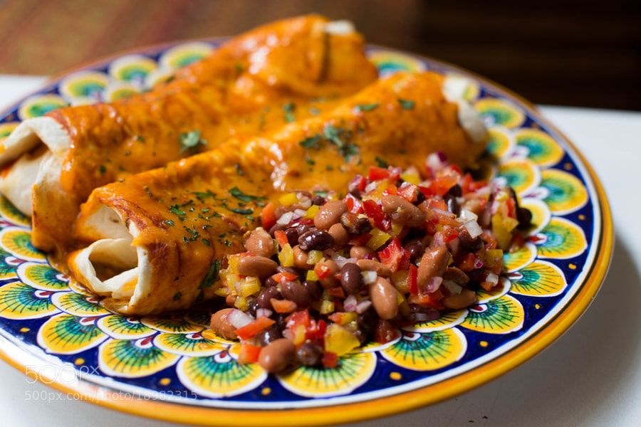 Enchiladas and Bean Salad